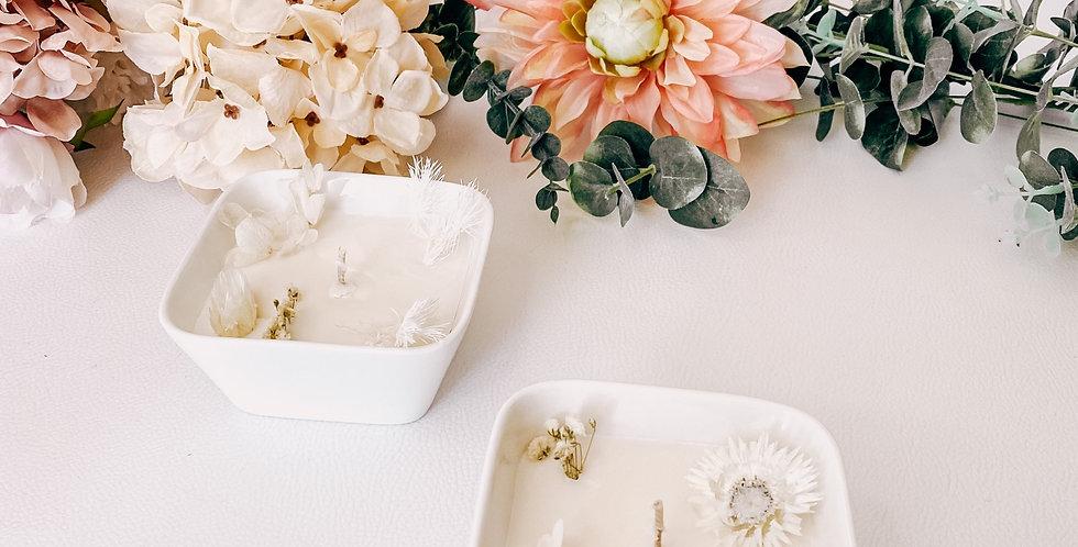 Square bougies FLORALE, bougeoir en verre, fleurs et plantes...