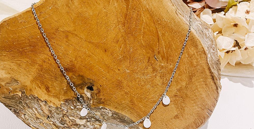XAA collier, argenté, perles de coquillage..