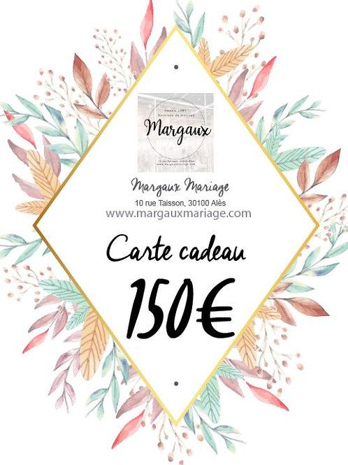 Carte cadeau de 150€ valable 1 an.