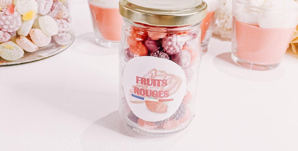 FRUITS ROUGES, bougeoir en verre...