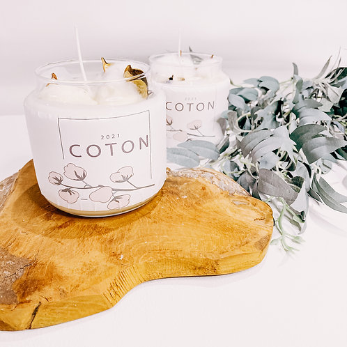 "Bougies ""Coton"", bougeoir en verre, fleur de coton..."