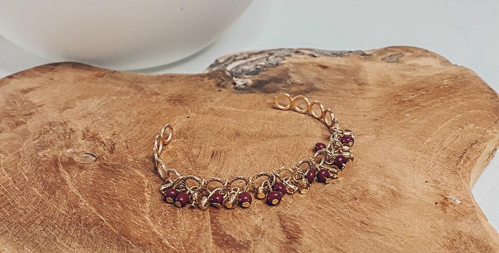 """""""EMA"""", bracelet, réglable, perles, doré..."""