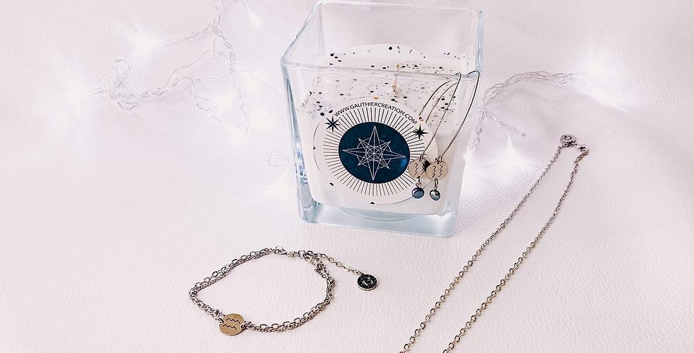 Bougie avec bijoux, astrologie...
