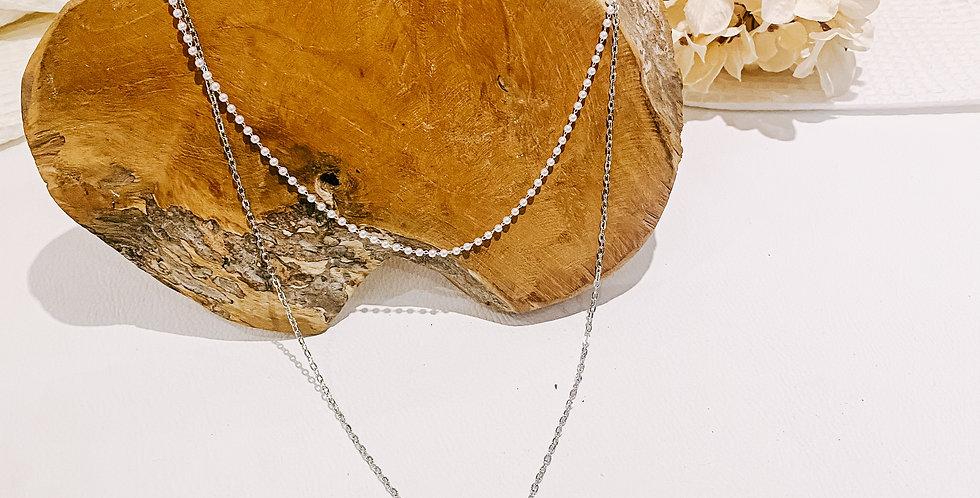 YONA collier, doubles chaînes, argenté...