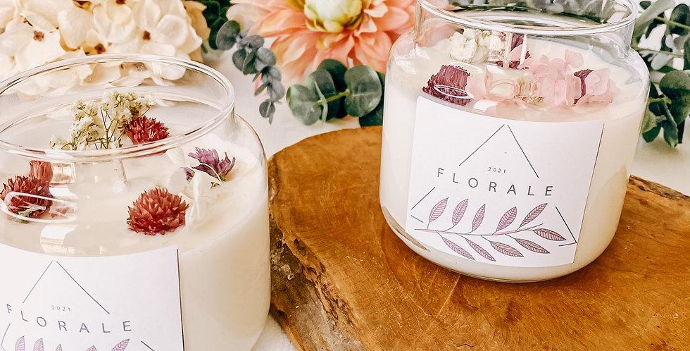 Bougies FLORALE, bougeoir en verre, fleurs et plantes...