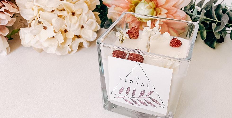 Mega bougies FLORALE, bougeoir en verre, fleurs et plantes...