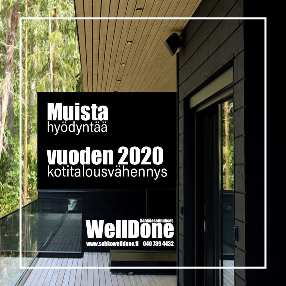 Sähkötöiden kotitalousvähennys 2020