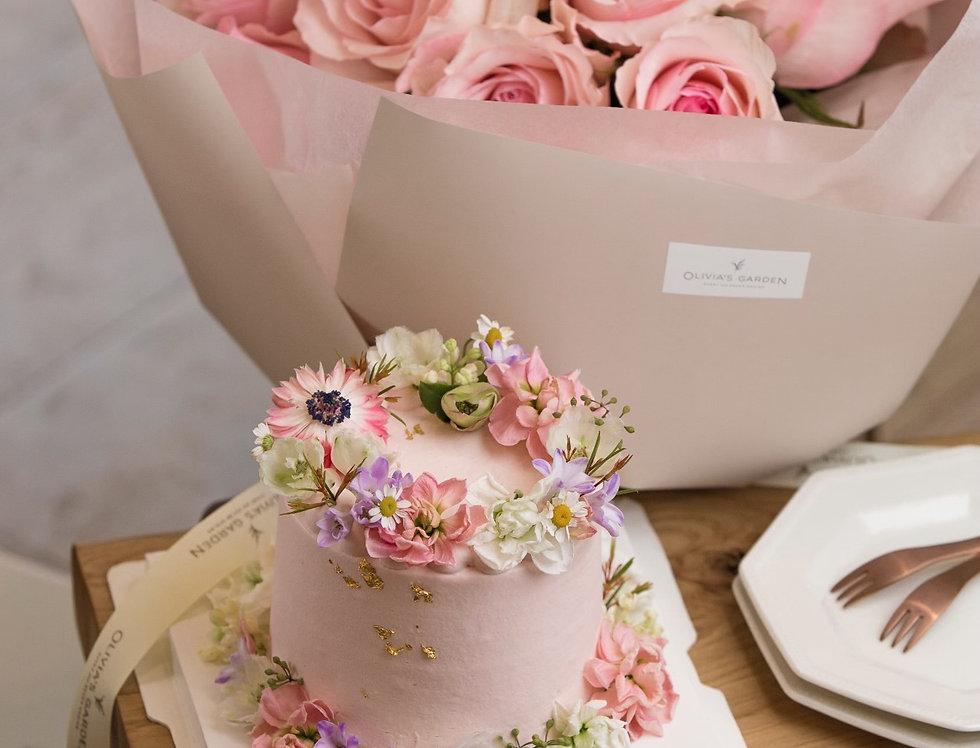 Sweet Love - Roses & Fresh Flower Cake Gift Set