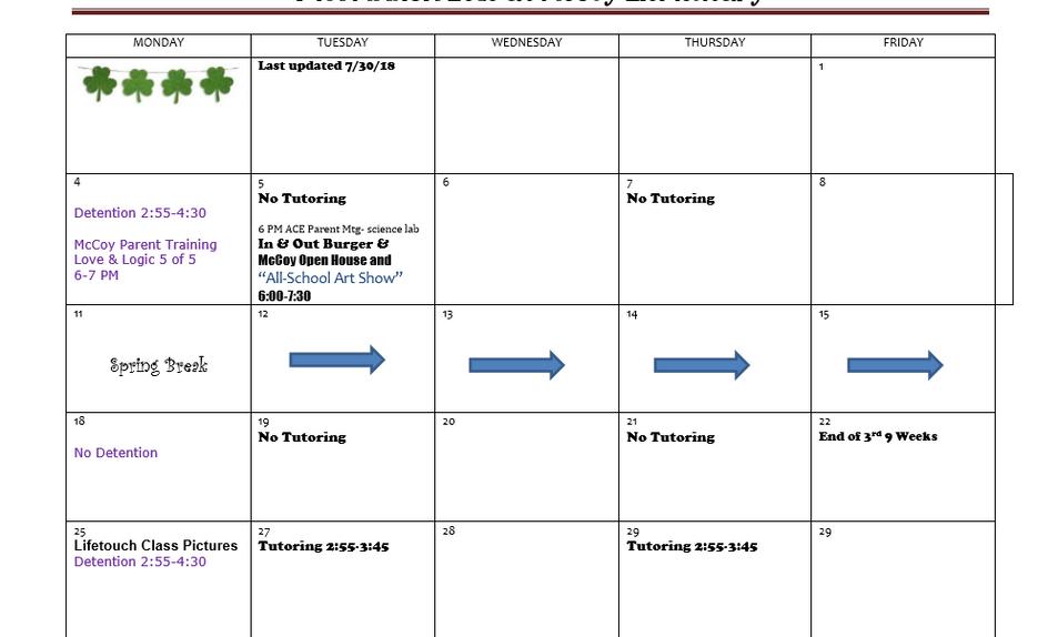 Cfbisd Calendar.Pta Calendar Mccoypta