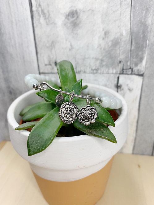Flower & White Bead Bracelet