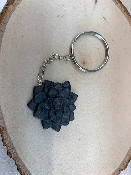 Black Succulent Keychain