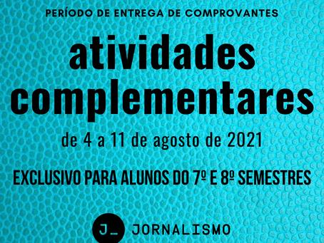 Entrega dos comprovantes das atividades complementares vai de 4 a 11 de agosto