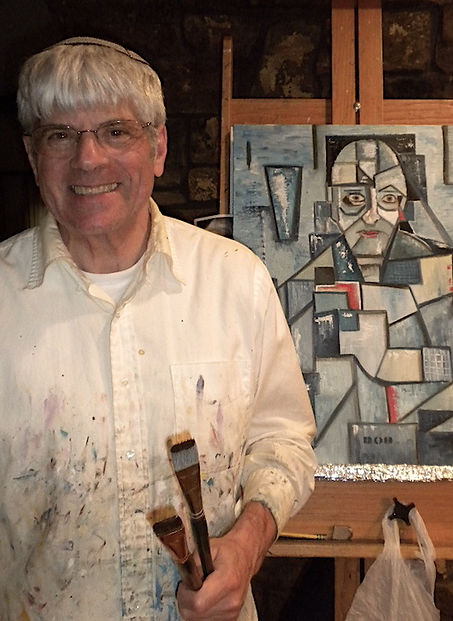 "Artist Stephen Shoel Wachtel standing with his cubist portrait of ""Bob."""