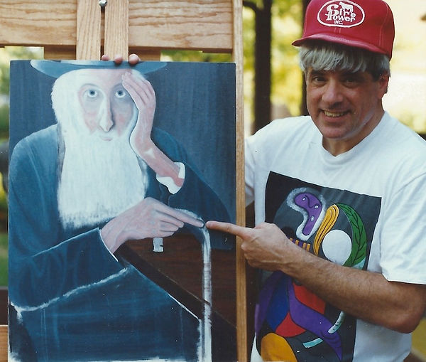 "Artist Stephen Shoel Wachtel showing an early stage of his painting, ""Village Elder."""