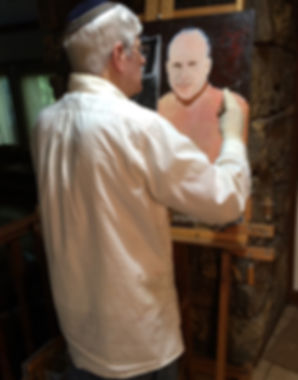 "Artist Stephen Shoel Wachtel adding texture with his palette knife, onto the portrait, ""Solus."""