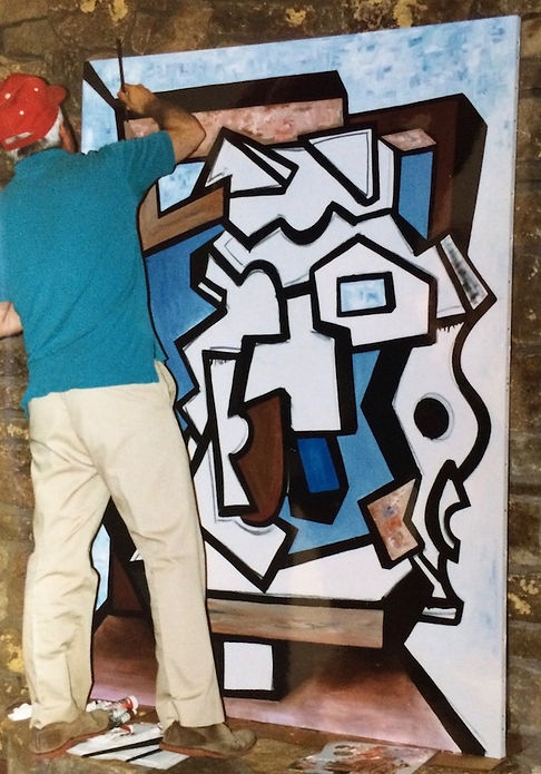 "Artist Stephen Shoel Wachtel adds brushstrokes to his large cubist painting, ""Resolution of Paradox."""