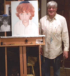 "Artist Stephen Shoel Wachtel stands alongside the newly-finished the portrait of ""Jack."""