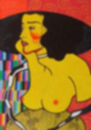 gustav klimt painting yellow naked woman