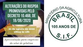 Atualização RIISPOA para empresas registradas no SIF referente aos aspectos relacionados a gelatina