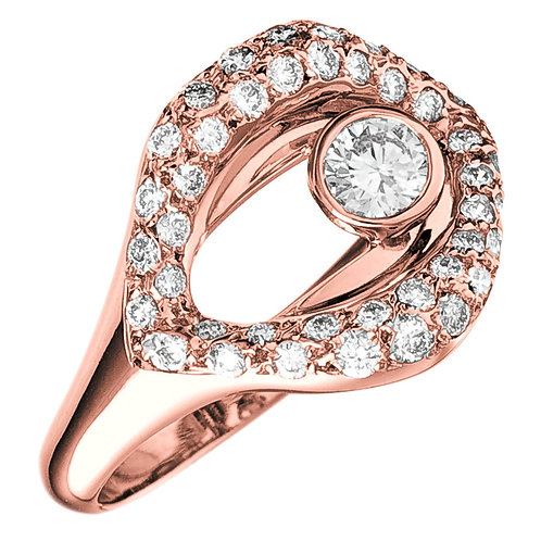 Bague la Croqueuse de Diamant en or rose