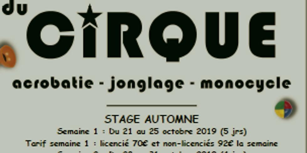 Les Ateliers du Cirque- Stage d'Automne 2019 semaine 1