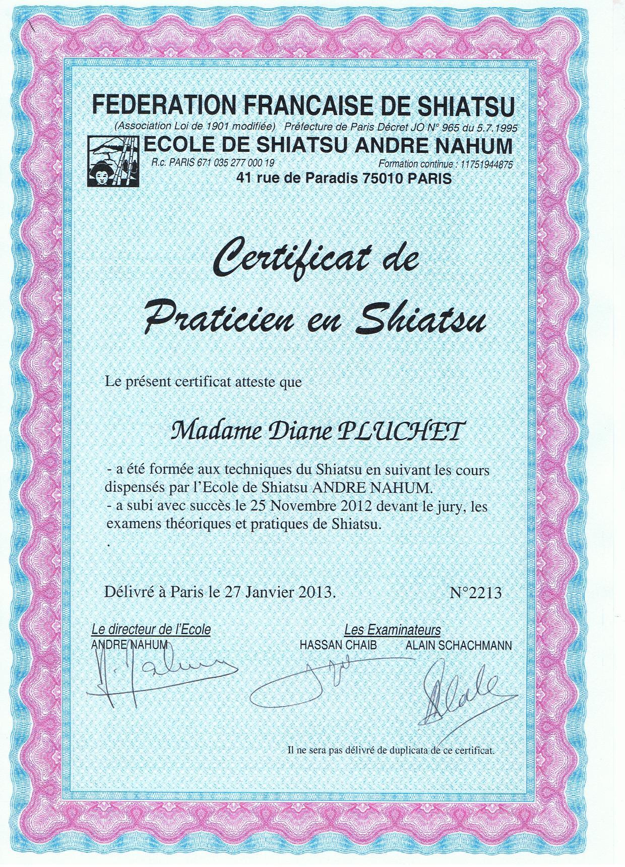 certificat shiatsu