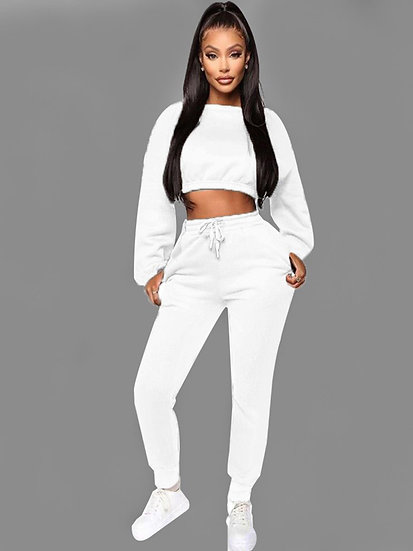 Aria White Tracksuit Cropped Sweat/Slim Joggers with Tie