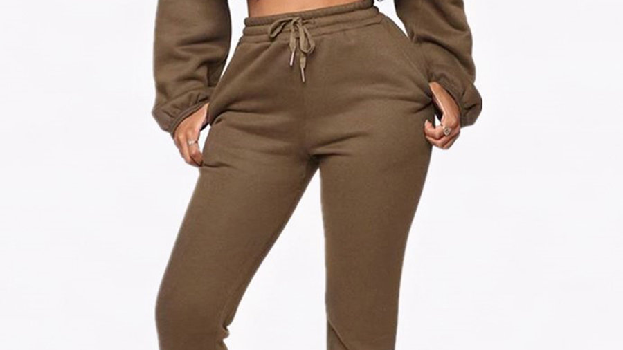 Aria Army Tracksuit Cropped Sweat/Slim Joggers with Tie