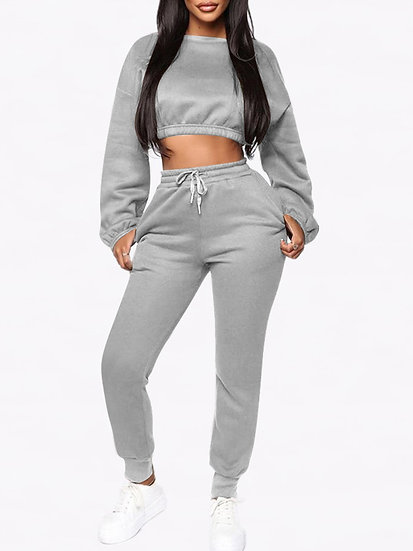 Aria Grey Tracksuit Cropped Sweat/Slim Jogger with Tie