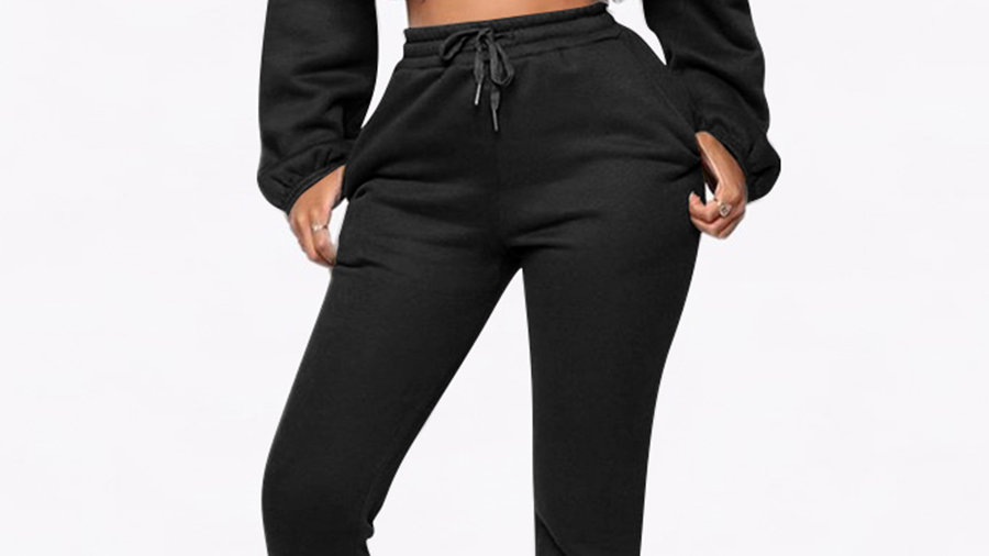 Aria Black Tracksuit Cropped Sweat/Slim Joggers with Tie