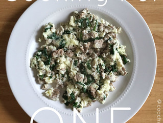 Cooking for One- turkey egg white scramble