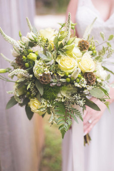 bridal bouquet in green with lots of texture