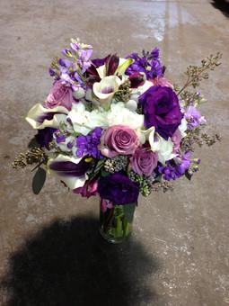 garden style white, lavender and purple bouquet