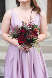 red and burgundy bridesmaid's bouquet