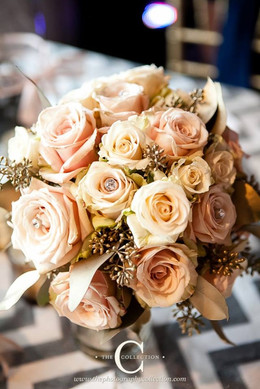 champagne, blush and gold bridal bouquet with rhinestones