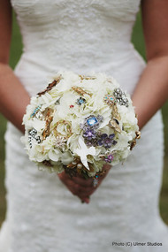 vintage jewelry and brooch bouquet