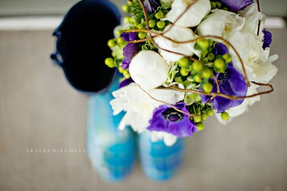 white, green and purple bridal bouquet with peonies and curly willow