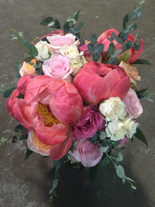 garden style bridal bouquet with coral charm peonies