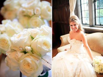 glitz and glam white bridal bouquet with rhinestones