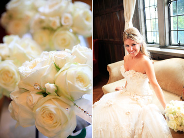 glitz and glam white bridal bouquet with rhinestones