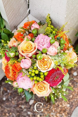 cheery pink and orange bridal bouquet