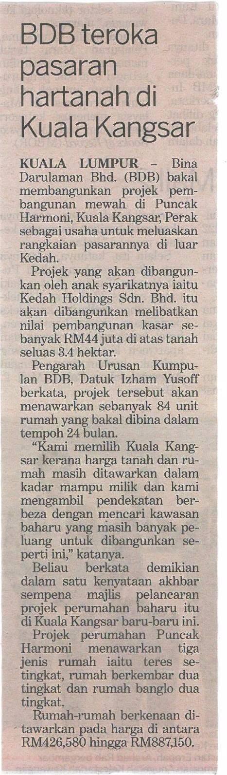 BDB teroka pasaran hartanah di Kuala Kangsar- Kosmo