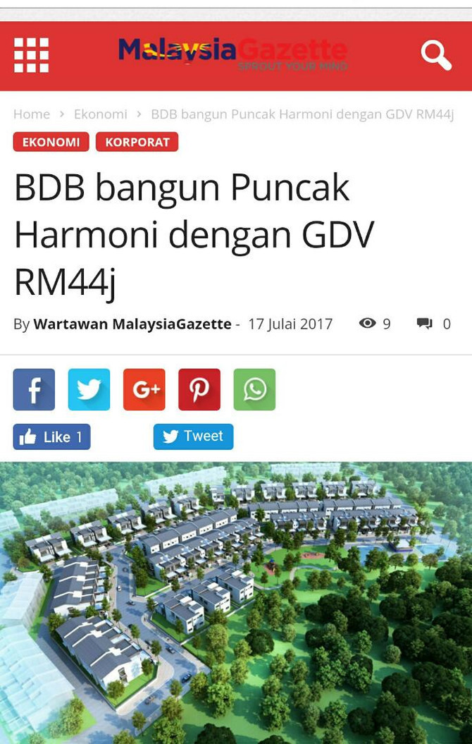 BDB Bangun Puncak Harmoni dengan GDV RM44juta- MalaysiaGazette