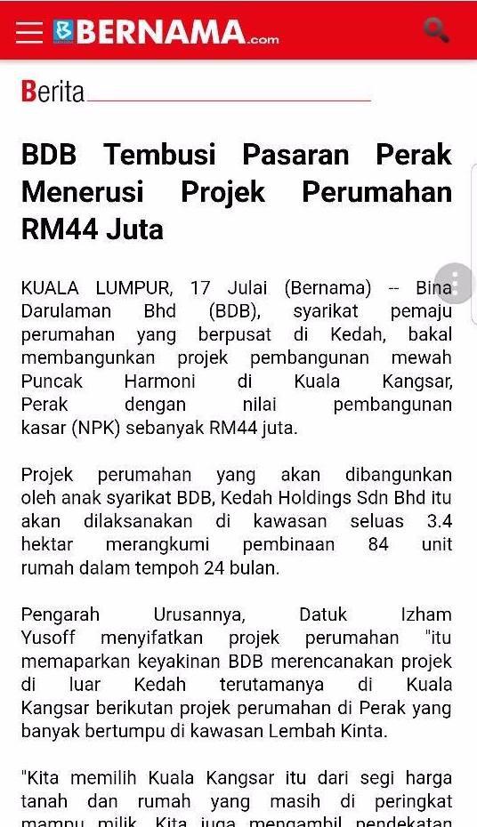 BDB Tembusi Pasaran Perak Menerusi Projek Perumahan RM44 Juta