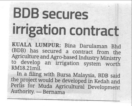 BDB Secures Irrigation Contract- Star Biz