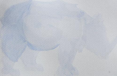 Edith Dormandy, 'Dürer Rhino', 2018, watercolour on paper, 14 x 19cm
