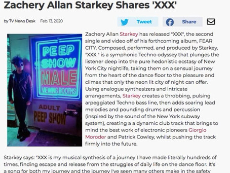 Broadway World reviews ZAS's XXX - compares it to Giorgio Moroder & Patrick Cowley - Feb 13th, 2020