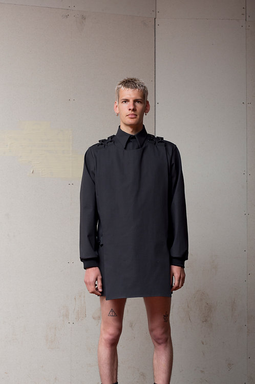 BLACK SHIRT WITH PLASTRON