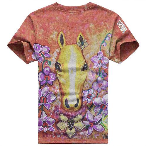 Horse in Flowers Art T-Shirt