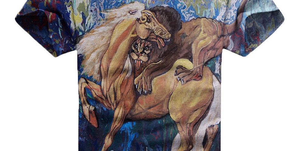 Lion On Horse Art T-Shirt